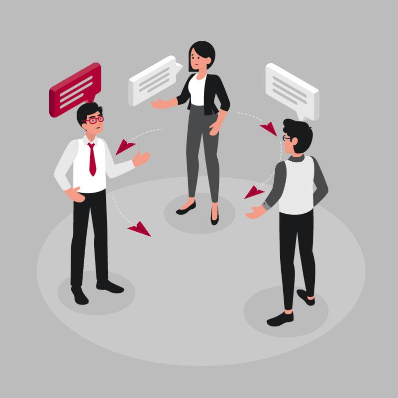 Interne Kommunikation – 3 Mitarbeitet stehen im Kreis und reden miteinander
