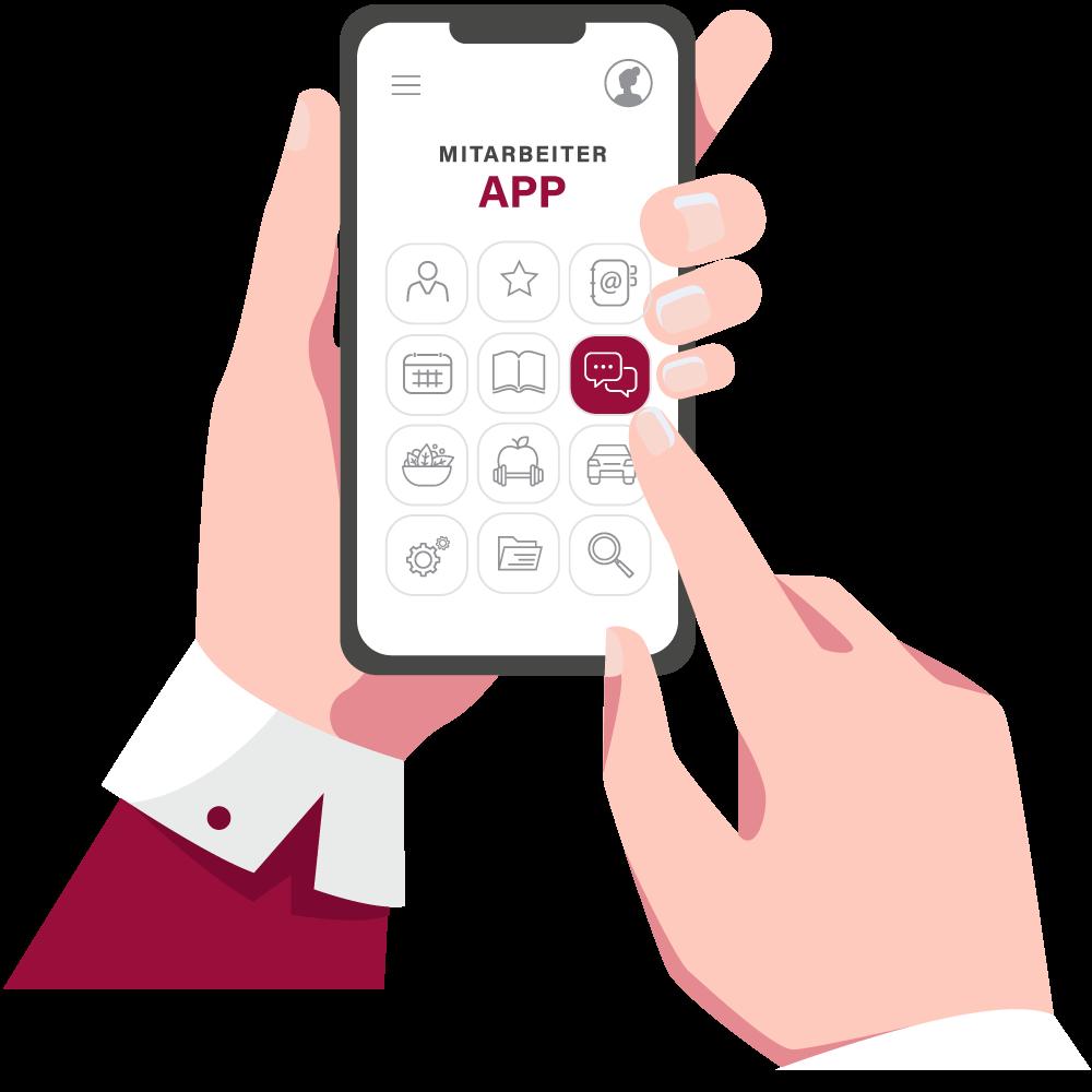 Illustration von Smartphone mit einer Mitarbeiter-App, welches in den Händen gehalten wird